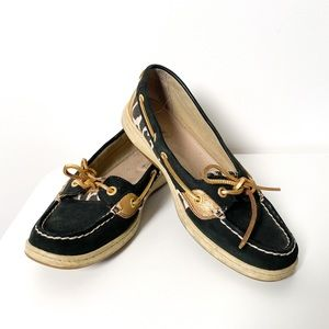 Sperry Black & Gold Leopard Top Sider Loafers